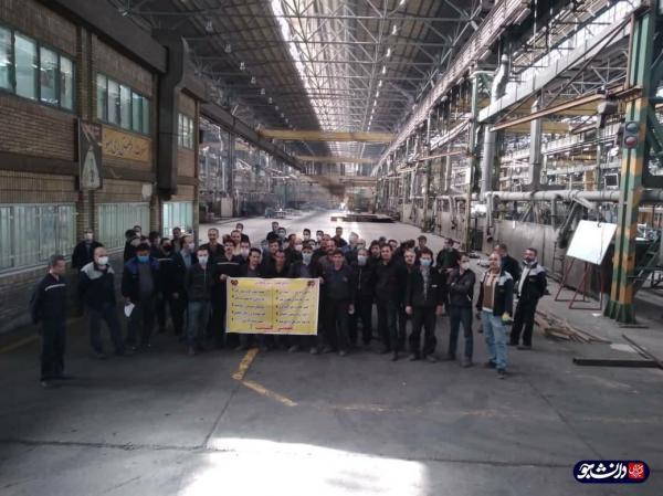 گردهمایی کارگران هپکو در محوطه کارخانه ، خواسته هایی که در پارچه نوشته مطرح شد
