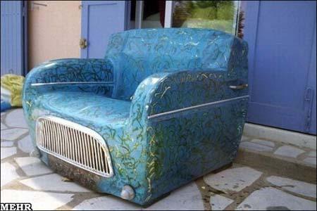 تصاویری از خودروی قدیمی که مبل شد!